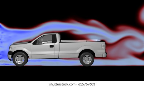 Air flow around pickup truck in wind tunnel with  smoke following form of body . Profile side view. 3d render