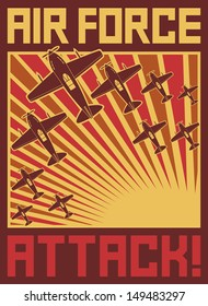 Air force attack poster (old planes, World war II design)