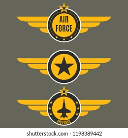 Air force badge set. Airforce logo with wings and star. Army and military emblem.