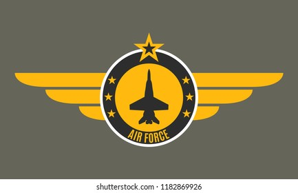 Air force badge with wings and star. Army and military emblem. Airforce logo.