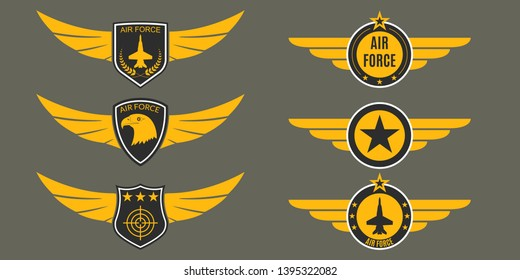 Air Force logo with wings, shields and stars. Military badges. Army patches.