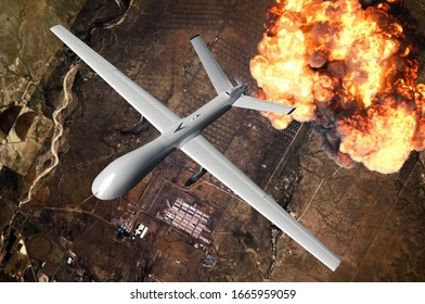 Air force plane performing mission to destroy enemy base. UAV dropping a bomb on a ground target. Big explosion. War. 3d rendering image.  Elements of this image furnished by NASA