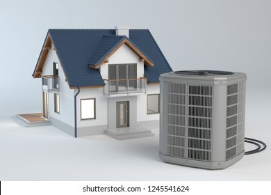 Air heat pump and house model, 3d Illustration