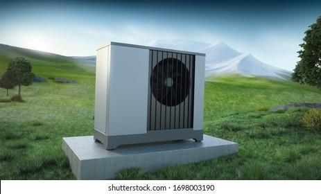 Air heat pump and landscape mountain - ecology concept, 3D illustration
