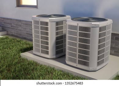 Air heat pumps and house, 3D illustration
