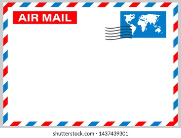 Air mail envelope with postal stamp isolated on white background. stock illustration.