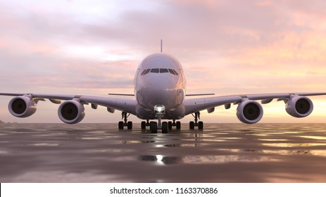 air plane on the runway, 3d illustration