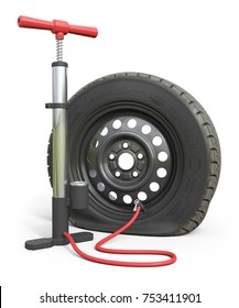 Air pump and puncture car wheel isolated on white background. 3d render illustration