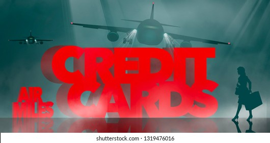 Air rewards, air miles reward credit cards are the subject. The words air miles credit cards is surrounded by business travelers and airplanes. This is an illustration