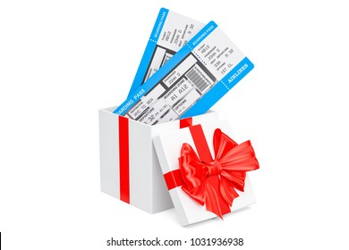 Air Tickets inside gift box. 3D rendering isolated on white background