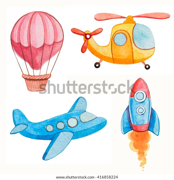 Air Transport Kids Watercolor Illustrations Stock