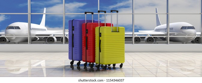 Air travel concept. Three bright colors suitcases on airport terminal background, banner. 3d illustration