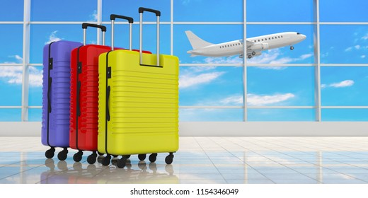 Air travel concept. Three bright colors suitcases on airport terminal background. 3d illustration