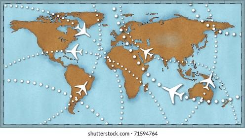 World Map Airline Airplane Flight Path Stock Illustration 60 Inspiration Flight Pattern Map