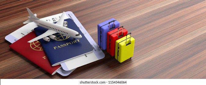 Air travelling concept, passport and boarding pass. Two passports, suitcases and airplane tickets on wooden background, banner, copy space. 3d illustration