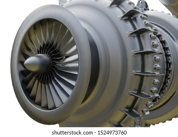 Aircraft air intake and fan blades close up. 3d rendering.