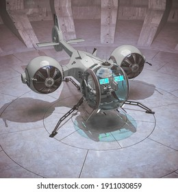 aircraft inside of the concrete hangar drone view, 3d illustration
