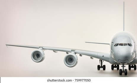 The aircraft was on a white background. 3d rendering and illustration.