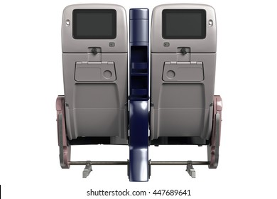 Aircraft passenger chairs with digital screen, back view. 3D graphic