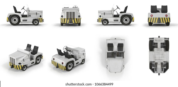 Aircraft Towing Tractor renders set from different angles on a white. 3D illustration