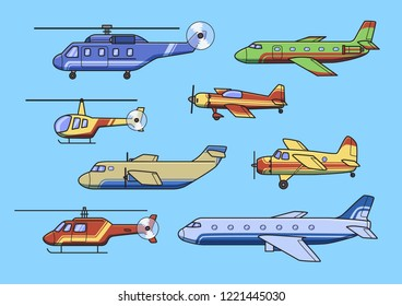 Aircrafts, set of airplanes and helicopters. Flat illustration. Set of images. Isolated on blue background. Raster version.