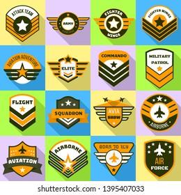 Airforce logo set. Flat set of airforce logo for web design