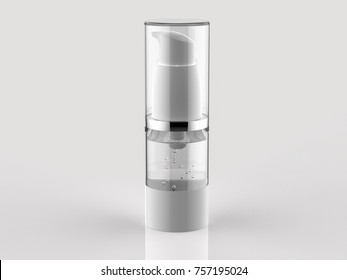 Airless skin care & Cosmetic dispenser filled with clear serum.3D rendering.