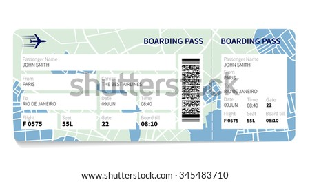 Airline Boarding Pass Ticket Map Background Stock Illustration