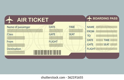 airplane ticket blue boarding pass coupon stock vector royalty free