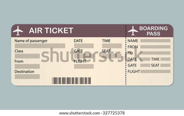 Airline Boarding Pass Ticket Template Detailed Stock Illustration 327725378