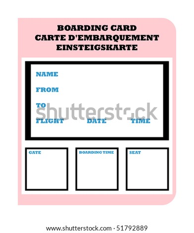 Airline Boarding Ticket Pass English French Stock Illustration