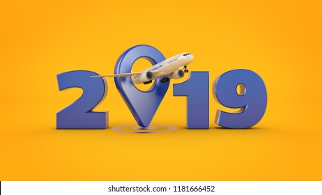 Airline travel concept. Airport pointer. 2019 New Year sign. 3d rendering.