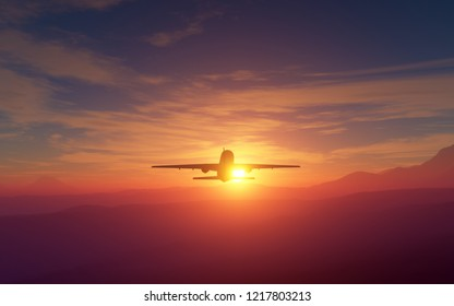 Airliner flying at sunset or sunrise over a beatiful landscape of mountains. 3D illustration or rendering.