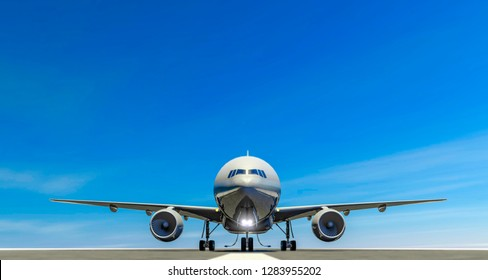 Airliner on the landing strip of an airport, take-off runway, taxiing engines. Front view of an airplane waiting for departure. 3d rendering