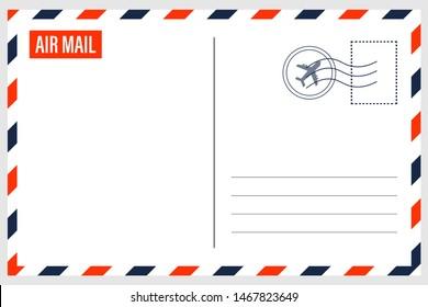 Airmail Envelope Border on white background - Illustration.