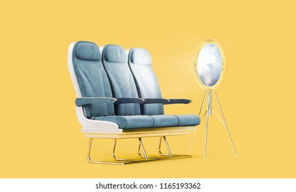 Airpalne seats with flight window as a mirror in a studio on bright yellow isolated background. Creative Concept of air travel and vacation. 3d rendering