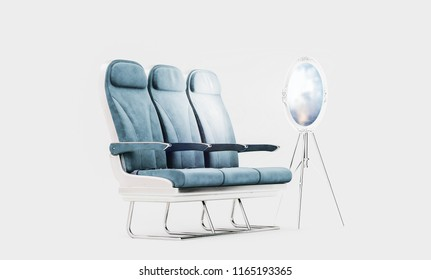 Airpalne seats with flight window as a mirror in a studio on white isolated background. Creative Concept of air travel and vacation. 3d rendering