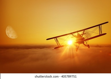 Airplane Above the Clouds During Sunset 3D Illustration. Great Airplane Flying Adventure. Biplane Flight.