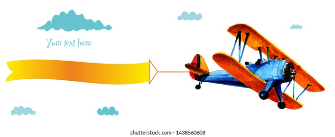 Airplane with advertising. Airplane with a blank poster. Airplane with a banner. Blue biplane with white ribbon in the blue sky.