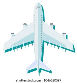 Airplane in the air illustration. Flying an airplane with a shadow underneath. Airplane view from above isolated from the background.