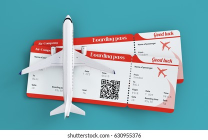 Airplane and boarding passes. Traveling around the world by plane. Flights and traveling concept. Unusual 3d illustration