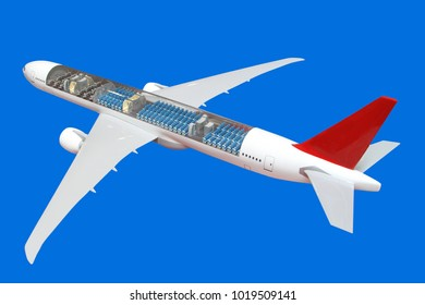 The airplane, can be seen inside passenger seats isolated on blue  background.
