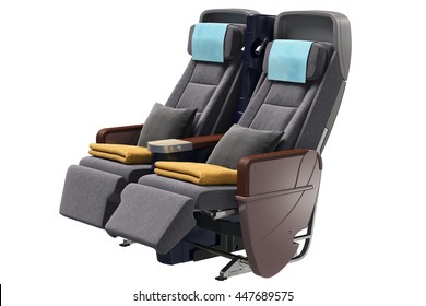 Airplane chairs passenger modern style. 3D graphic