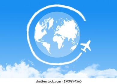 airplane cloud shape around world