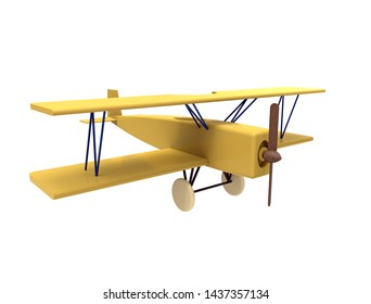 Airplane, colorful wooden toy, 3d rendering, on white background