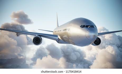 Airplane in cumulus clouds, close up. 3d illustration.
