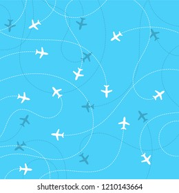 Airplane destinations seamless background. Adventure time concept