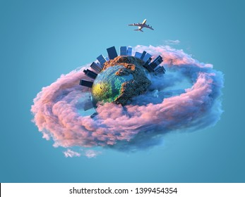 airplane flies over the small planet, 3d illustration
