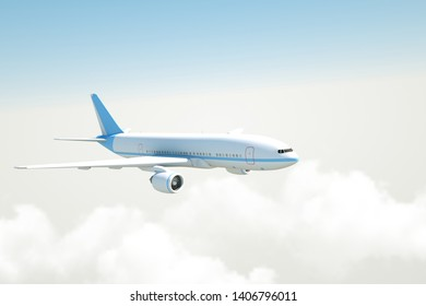 Airplane flying above clouds - 3D Rendering.