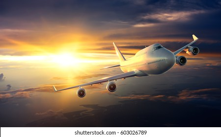 Airplane flying above clouds during sunset - 3d Rendering